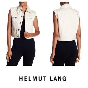 NEW!  Helmut Lang faux fur shrunken denim vest (L)